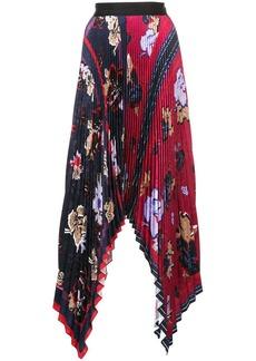 Yigal Azrouel Floral Pleated Handkerchief Skirt