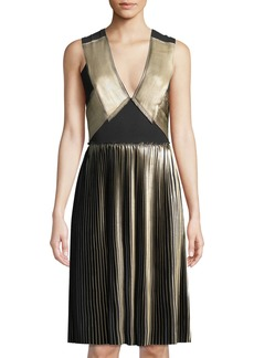 Yigal Azrouel Foil Pleat V-Neck Cocktail Dress