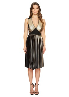 Yigal Azrouel Foil Pleat V-Neck Dress