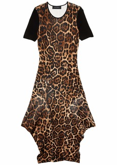 Yigal Azrouel Fully Fashioned Rib Front Cuttle Hem Midi Dress