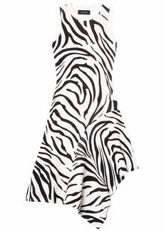 Yigal Azrouel Fully Fashioned Sleeveless Zebra Print Handkerchief Dress