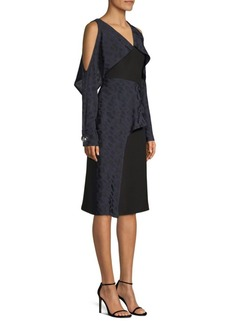 Yigal Azrouel Geometric Cold-Shoulder Ruffle Dress