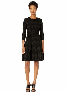 Yigal Azrouel Houndstooth Intarsia Viscose Fit and Flare Dress