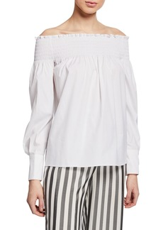 Yigal Azrouel Long-Sleeve Off-the-Shoulder Smocked Top