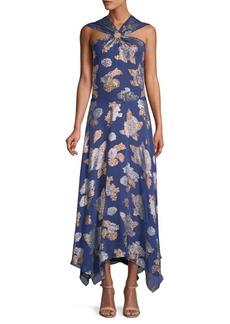 Yigal Azrouel Metallic Floral-Print Halter Maxi Dress
