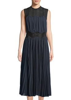 Yigal Azrouel Midnight Lace-Yoke Chiffon Midi Dress