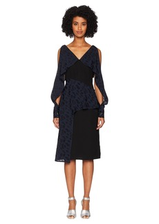 Yigal Azrouel Navy Abstract Geo Pattern Combo Dress