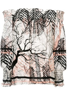 Yigal Azrouel off-shoulder patterned blouse
