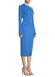 Yigal Azrouel One-Shoulder Long-Sleeve Midi Dress
