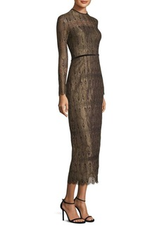 Yigal Azrouel Open Back Peacock Lace Dress