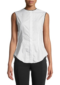 Yigal Azrouel Pleated-Back Button-Front Sleeveless Poplin Top