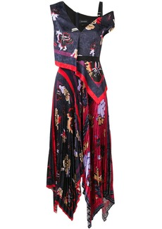 Yigal Azrouel Pleated Floral Handkerchief dress