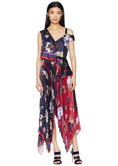 Yigal Azrouel Pleated Handkerchief Scarf Print Dress