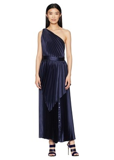 Yigal Azrouel Pleated Long Dress with Scarf Detail and Snap At Hem