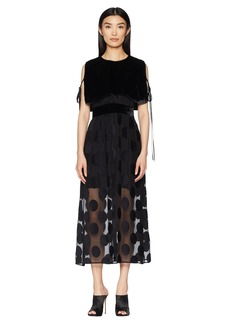 Yigal Azrouel Polka Dot Fille Coupe Dress with Velvet Cape Overlay