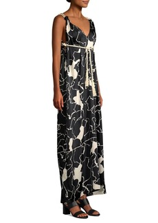 Yigal Azrouel Rope Tie Printed Maxi Dress