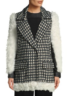 Yigal Azrouel Shearling Checked Tweed Topper Coat