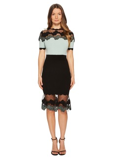 Yigal Azrouel Shell Lace Combo Short Sleeve Knit Dress