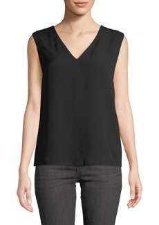 Yigal Azrouel Sleeveless Silk V-Neck Blouse W/ Back Cutout