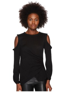 Yigal Azrouel Star Knit Jacquard Cold Shoulder Top