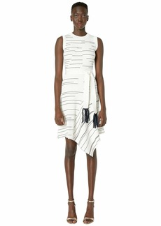 Yigal Azrouel Striped Rib Asymmetric Hem Dress