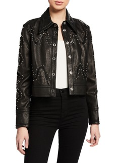 Yigal Azrouel Studded Lace Leather Jacket