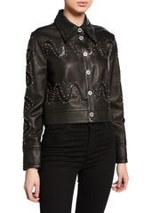 Yigal Azrouel Studded Lace Leather Jacket