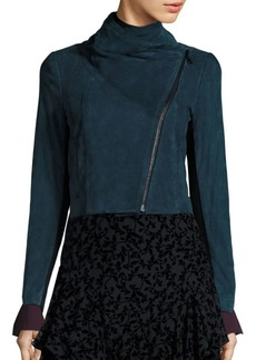 Yigal Azrouel Suede Funnel-Neck Jacket