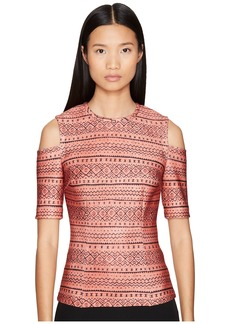 Yigal Azrouel Tribal Stripe Printed Scuba Cold Shoulder Top