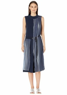 Yigal Azrouel Two-Tone Pleated Georgette Crew Neck Dress with Wrap Front