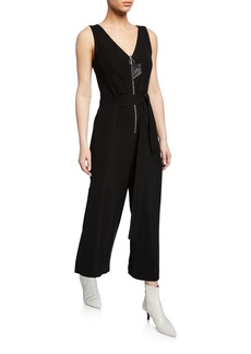 Yigal Azrouel V-Neck Zip-Front Wide-Leg Jumpsuit w/ Tie