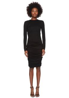 Yigal Azrouel Wool Jersey Ruched Skirt Sheath Dress