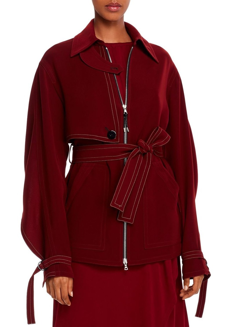 Yigal Azrouel Belted Cape-Detail Crepe Jacket