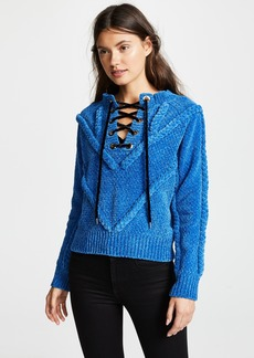 Yigal Azrouel Chenille Sweater with Lace Detail