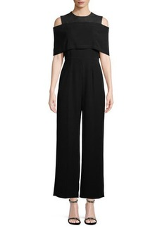 Yigal Azrouel Cold-Shoulder Cape-Front Jumpsuit
