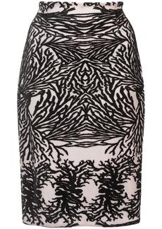 Yigal Azrouel coral reef burnout pencil skirt - Black