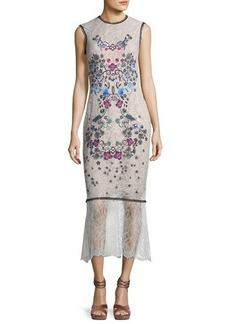 Yigal Azrouel Floral Embroidery Sleeveless Midi Dress