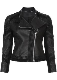 Yigal Azrouel fringed moto jacket - Black