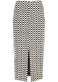 Yigal Azrouel front slit wave skirt - Black