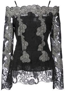 Yigal Azrouel off the shoulder lace blouse - Black