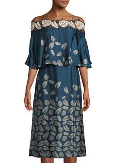Yigal Azrouel Off-The-Shoulder Leaf-Embroidered Silk Midi Dress