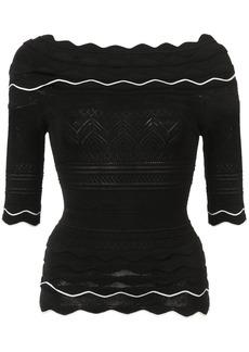 Yigal Azrouel scallop knit top - Black
