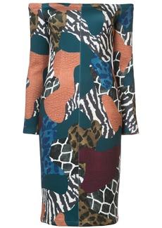 Yigal Azrouel shoulderless patchwork dress - Blue