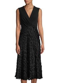 Yigal Azrouel Sleeveless Chevron Fil Coupe Skirt Midi Dress
