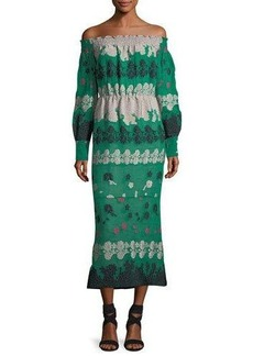 Yigal Azrouel Smocking Off-the-Shoulder Long-Sleeve Midi Dress