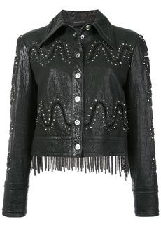 Yigal Azrouel studded detail fringed jacket - Black