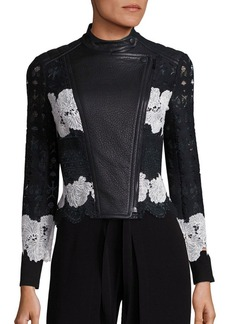 Yigal Azrouel Two-Tone Lace & Leather Moto Jacket