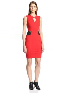 Yigal Azrouel Women's Sheath Dress with Leather Trim