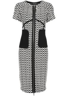 Yigal Azrouel zip-front wave pattern dress - Black