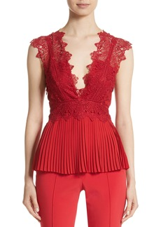 Yigal Azrouel Yigal Azrouël Coral Embroidered Pleated Top